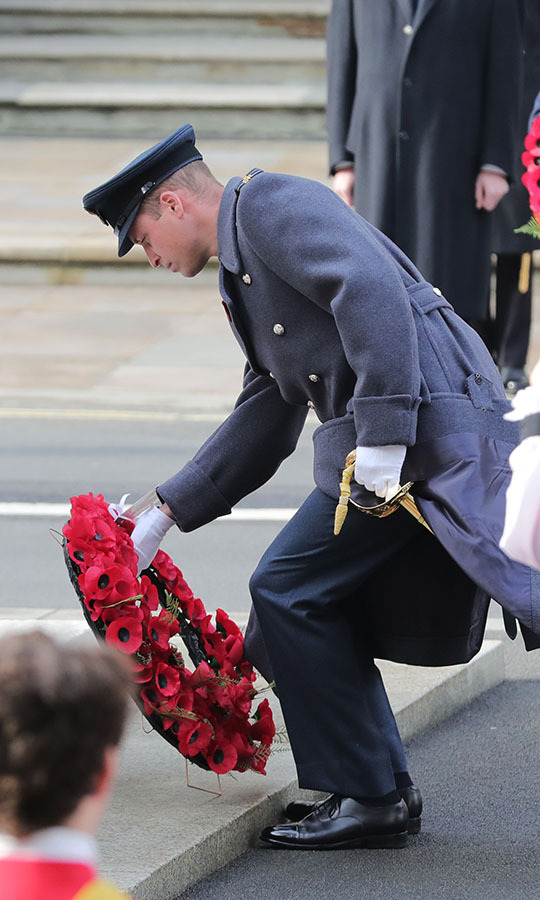 Prince William also puts down a wreath at the event.
