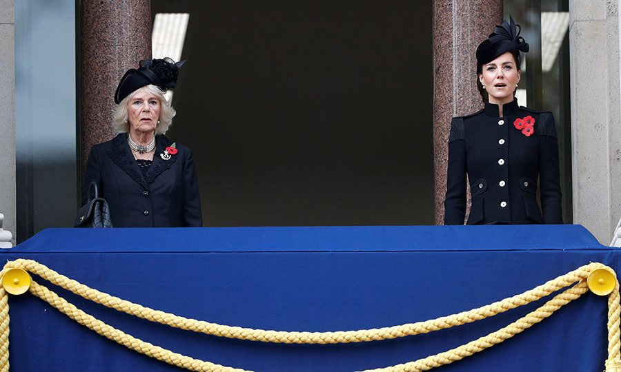 The Duchess of Cornwall and Duchess Kate sing the British national anthem during a socially distanced National Service of Remembrance at the Cenotaph on Nov. 8, 2020 in light of <a href=/tags/0/covid-19><strong>COVID-19</strong></a>.