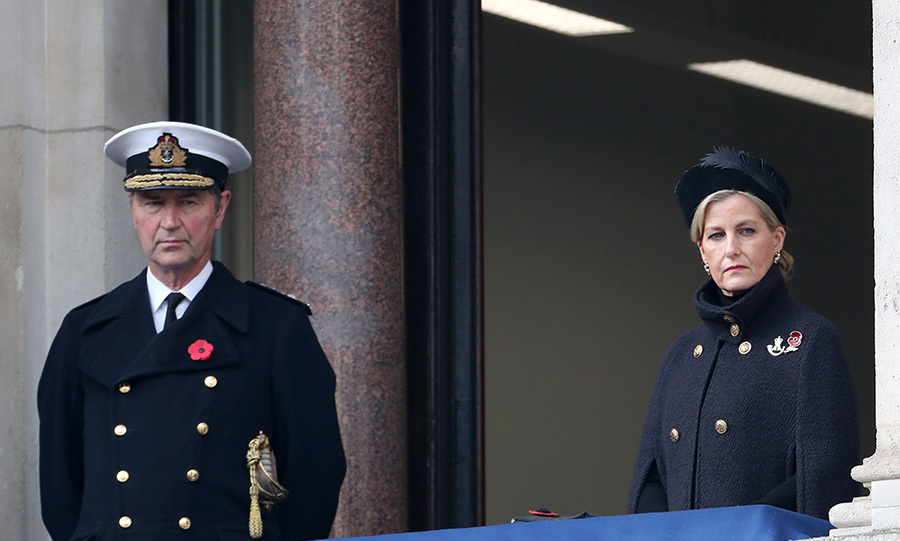 Navy officer Timothy Laurence and Countess Sophie take part in the 2020 Remembrance Day service.