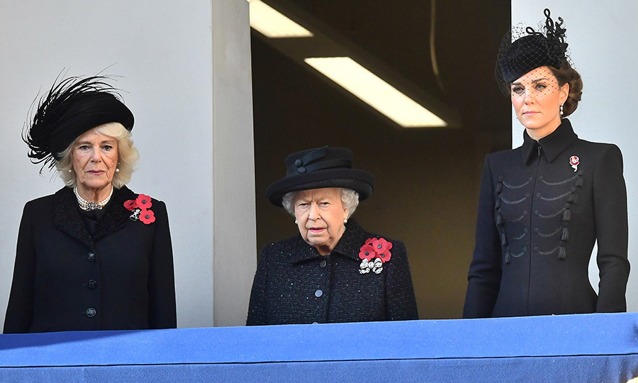Duchess Camilla and Duchess Kate join the Queen on a balcony at Whitehall to take in Remembrance Sunday services on Nov. 10, 2019. 