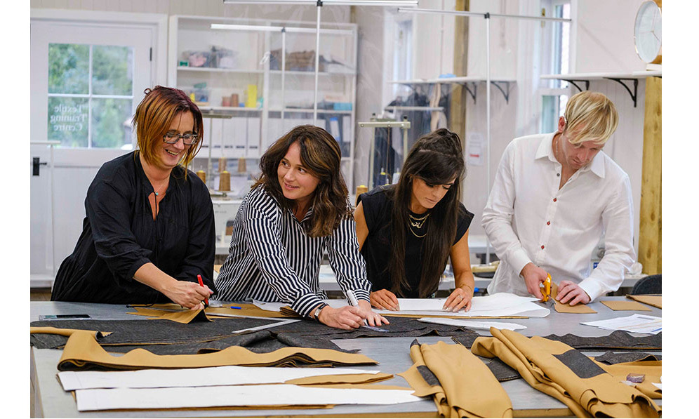 British Modern Artisans working on the collection in the Dumfries House Textiles Training Centre. Photo: © Mike Wilkinson