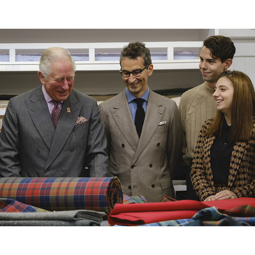 Prince Charles, Federico Marchetti and Modern Artisan students have a moment at Dumfries House. Photo: © Mike Wilkinson
