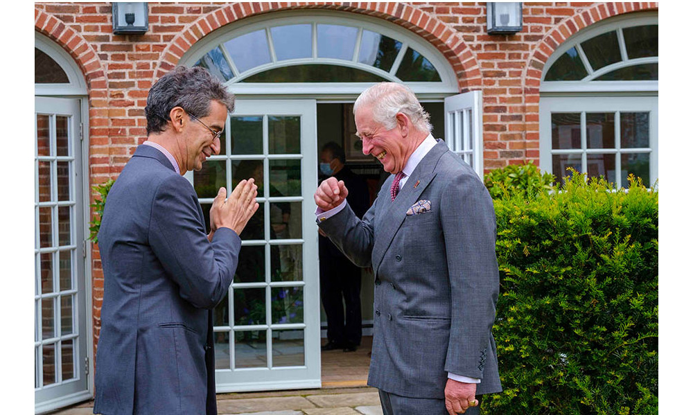 YOOX NET-A-PORTER Group Chairman and CEO Federico Marchetti and Prince Charles greet each other for the final collection review at Dumfries House. Photo: © Mike Wilkinson