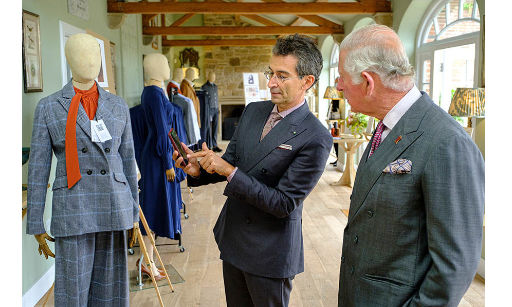Federico Marchetti demonstrates the Digital ID of a finished garment to Prince Charles. Photo: © Mike Wilkinson