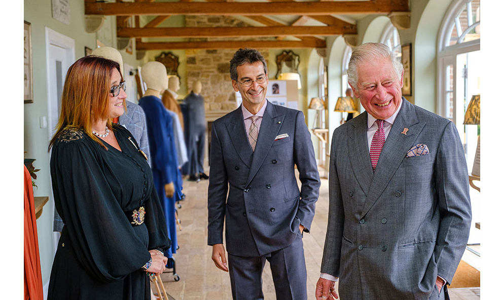 (L-R) British Modern Artisan trainee Jillian Halfpenny, Federico Marchetti and The Prince of Wales in September 2020. Photo: © Mike Wilkinson