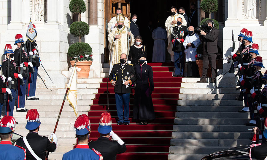 Prince Albert, Princess Charlene and Princess Caroline leave the Cathedral of Monaco following mass on Nov. 19.