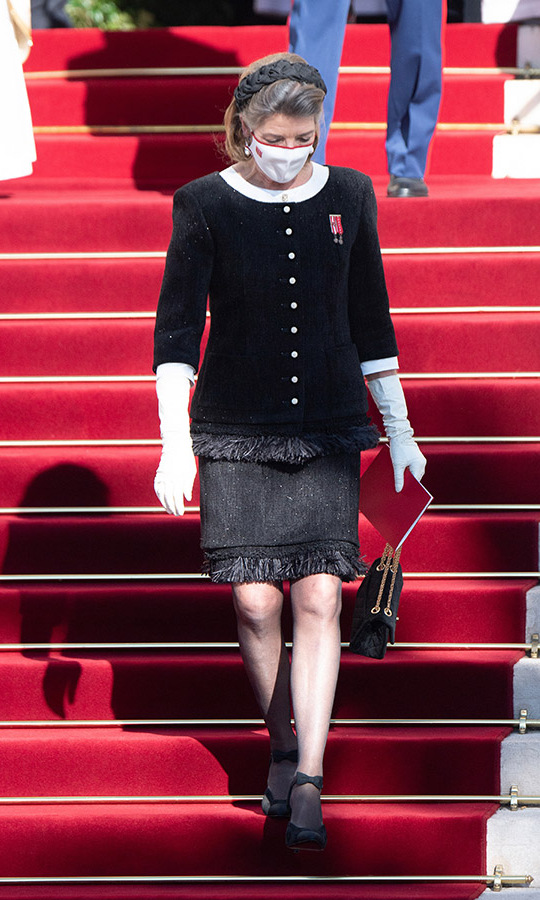 "<a href=""https://ca.hellomagazine.com/tags/0/princess-caroline/""><strong>Princess Caroline</strong></a> brimmed with elegance in a black-and-white look with fringing detail.