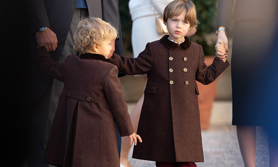Francesco, 2, and Stefano, 3, wore corduroy pants and matching brown winter coats!