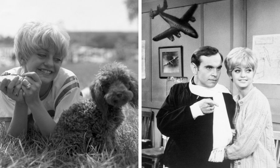 In 1966, the pixie-coiffed funny girl and her beloved dog, Lambchop (left in the split-screen image), relocated to California, where she landed a role on TV's Good Morning World. She's seen on set with <strong>Ronnie Schell</strong> in the image in the right. 