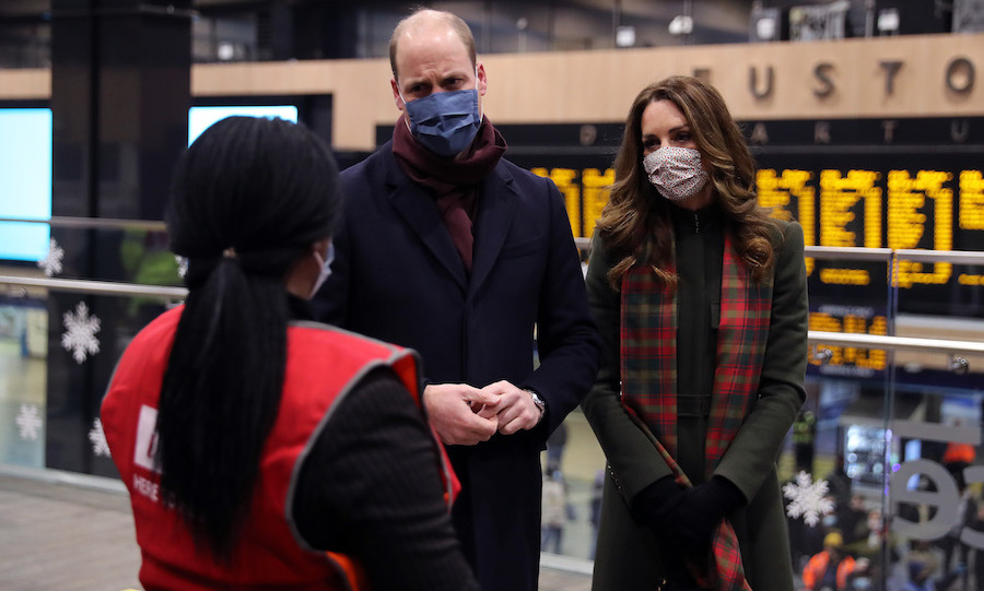 The couple took time to speak with rail workers, thanking them for keeping the UK going throughout the <a href=/tags/0/coronavirus><strong>coronavirus</a></strong> pandemic.