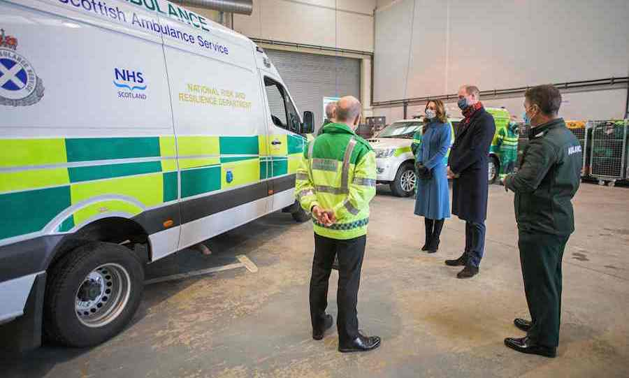From there, Kate and William visited the Scottish Ambulance Service, where they thanked workers for everything they've done to help the country battle <A href=/tags/0/covid-19><strong>COVID-19</a></strong>.