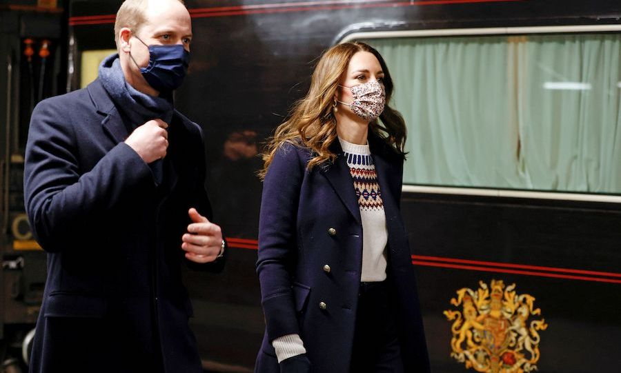From there, they were off to Manchester for their final stop of the day. Kate changed again, sporting a holiday sweater. 