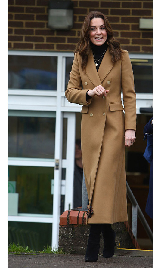 "Also on Jan. 22, Duchess Kate continued her 24-hour U.K. tour in Cardiff at the Ely & Caerau Children's Centre. She bundled up in a camel coat from <a href=""https://ca.hellomagazine.com/tags/0/massimo-dutti""><strong>Massimo Dutti</strong></a>.