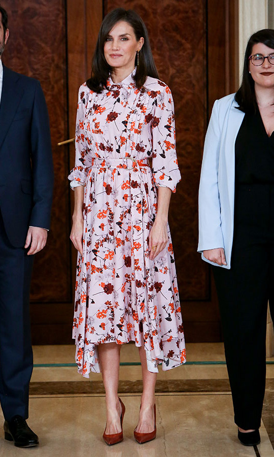 On Feb. 21, Queen Letizia had us thinking of spring thanks to the pink floral <a href=/tags/0/hugo-boss><strong>BOSS</strong></a> dress she donned to attend several audiences at Zarzuela Palace in Madrid.<p>Photo: &copy; Paolo Blocco/WireImage