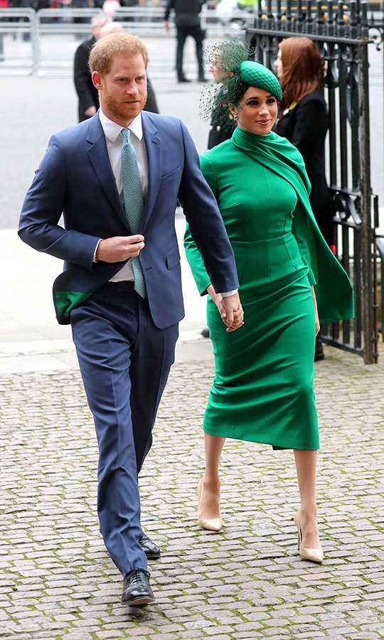 "Also at the event, Duchess Meghan stunned in all emerald green. She wore a long-sleeved frock with asymmetrical draped neckline from <strong><a href=""https://ca.hellomagazine.com/tags/0/emilia-wickstead/"">Emilia Wickstead</a></strong>, matching green fascinator with netted veil by <strong>William Chambers</strong>, <a href=/tags/0/birks><strong>Birks</strong></a> diamond snowflake earrings and <strong><a href=""https://ca.hellomagazine.com/tags/0/aquazzura"">Aquazzura</a></strong> pumps.