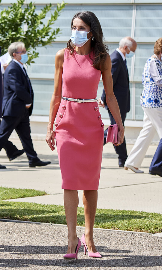 Queen Letizia commanded attention in a pink dress by <a href=/tags/0/michael-kors><strong>Michael Kors Collection</strong></a>, clutch and heels at the 125th anniversary of <em>El Heraldo De Aragon</em> newspaper event in Zaragoza on Sept. 16.