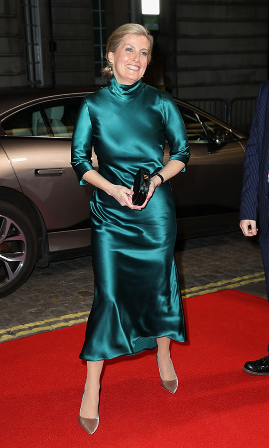 The Countess of Wessex made a gorgeous statement in a silky emerald <strong>Galvan</strong> dress and <a href=/tags/0/jimmy-choo><strong>Jimmy Choo</strong></a> pumps at the <em>Sulphur and White</em> premiere at The Curzon Mayfair in London on Feb. 27. <p>Photo: &copy; Chris Jackson/Getty Images