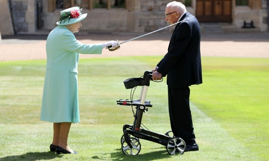<h2>No. 4: The Queen knighting Tom Moore</h2>