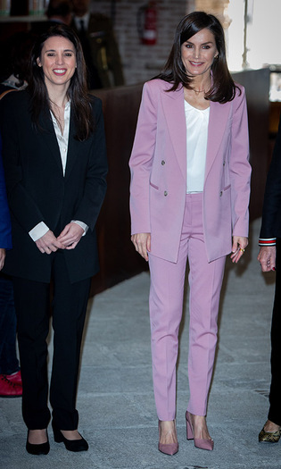 Feeling pink! Queen Letizia's pale pink suit and coordinating pumps were so pretty. The Spanish royal wore the pastel ensemble when she attended a meeting with the APRAMP (Prostitution Women Association) on March 6 in Madrid. 