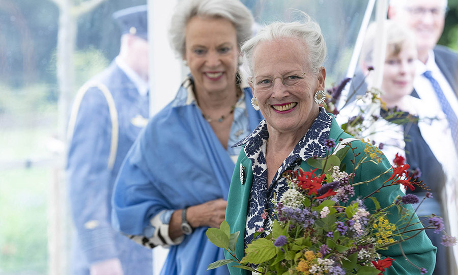 Queen Margrethe and Princess Benedicte (back left) open the royal kitchen garden at Graasten Castle in Southern Jutland on July 24, 2020.