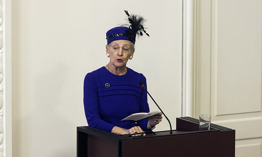 Queen Margrethe delivers a speech during the Parliament's celebration ceremony on the Reformation's 500th anniversary on Oct. 31, 2017 in Copenhagen.