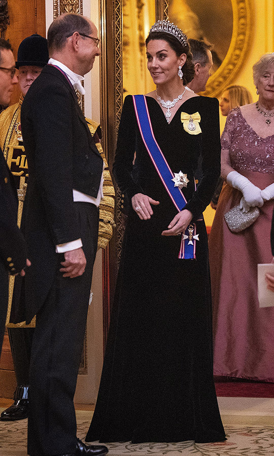 A black velvet gown from Alexander McQueen, one of the duchess's favourite designers, was the perfect choice to complement her jewels.