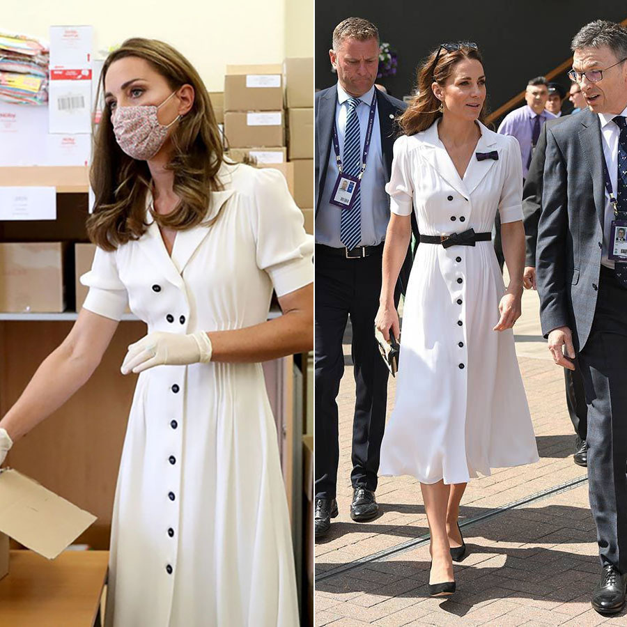 The mom of three visited Baby Basics U.K. on Aug. 4, 2020 in a white Suzannah dress and Amaia floral face mask.