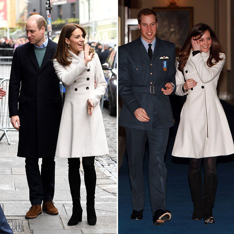 Kate charmed when she re-wore a <a href=/tags/0/reiss><strong>Reiss</strong></a> cream coat she has had in her wardrobe for more than a decade on her royal tour of Ireland with Prince William in March 2020.