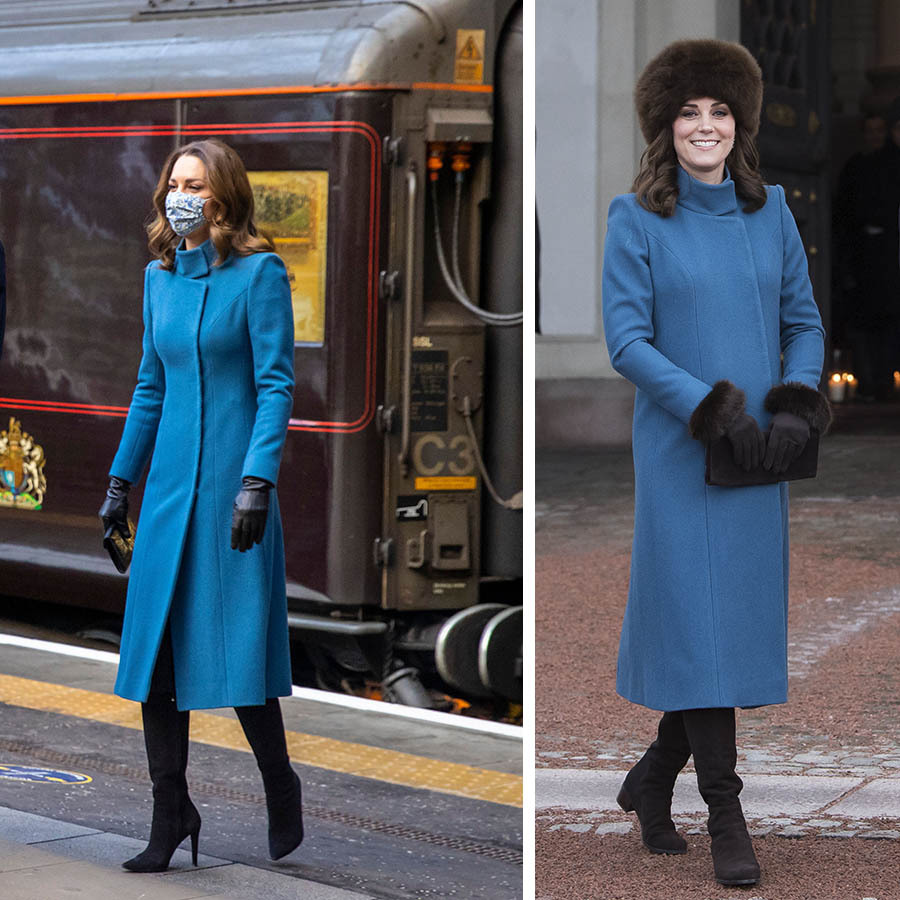 Same coat, different accessories! Kate stepped out in Edinburgh on the first stop of the royal train tour on Dec. 7, 2020 in an elegant blue <a href=/tags/0/catherine-walker><strong>Catherine Walker</strong></a> coat. She accessorized with tall black heeled boots, black gloves and an Amaia floral face mask.