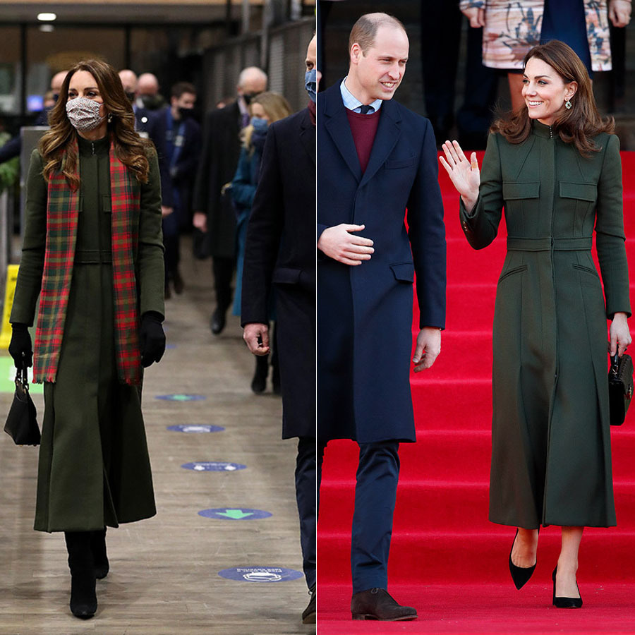On Dec. 6, 2020, Kate began the royal train tour in London wearing a green <a href=/tags/0/alexander-mcqueen><strong>Alexander McQueen</strong></a> coat with <strong>York Scarves</strong> Maple Leaf Tartan Scarf, Amaia face mask and Grace Han bag.