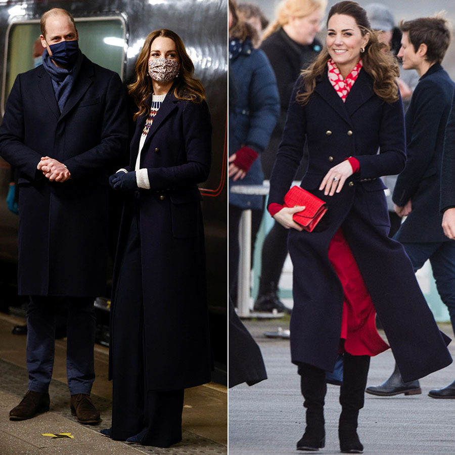 On Dec. 7, 2020, Kate recycled another piece during the royal train tour. When the couple arrived in Manchester, she brought out her <a href=/tags/0/hobbs><strong>Hobbs</strong></a> navy coat.