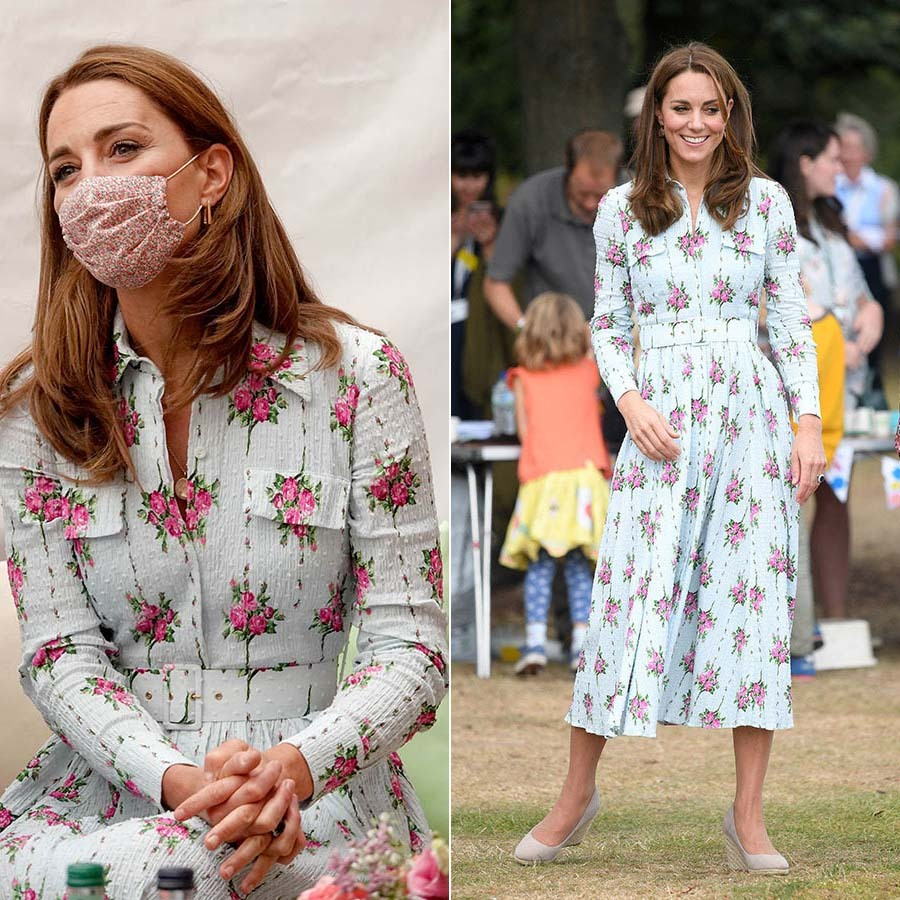 Kate was a vision in a dress from Emilia Wickstead and an Amaia face mask. She wore the patterned ensemble to check in with residents at the Shire Hall Care Home in Cardiff on Aug. 5, 2020.