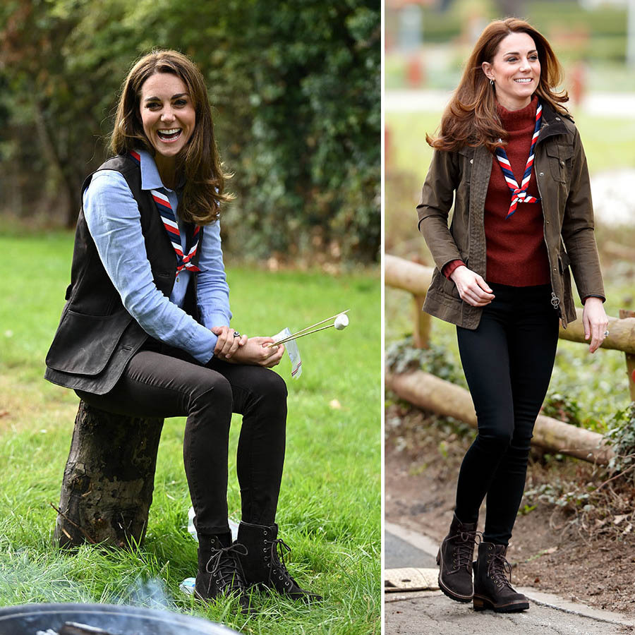Kate joined a Scout Group in London on Sept. 29, 2020. Her Scout's scarf was paired with a <strong>Really Wild</strong> nubuck waistcoat, blue blouse, chocolate brown skinny jeans from Massimo Dutti and her beloved <strong>See by Chloe</strong> lace-up boots. 