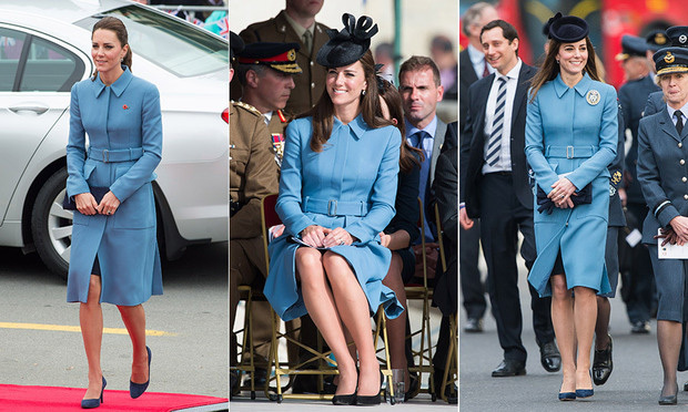 This Alexander McQueen blue coat is a winner! The Duchess of Cambridge opted for the stunning sky-blue-coloured coat while touring in New Zealand in 2014 (left).