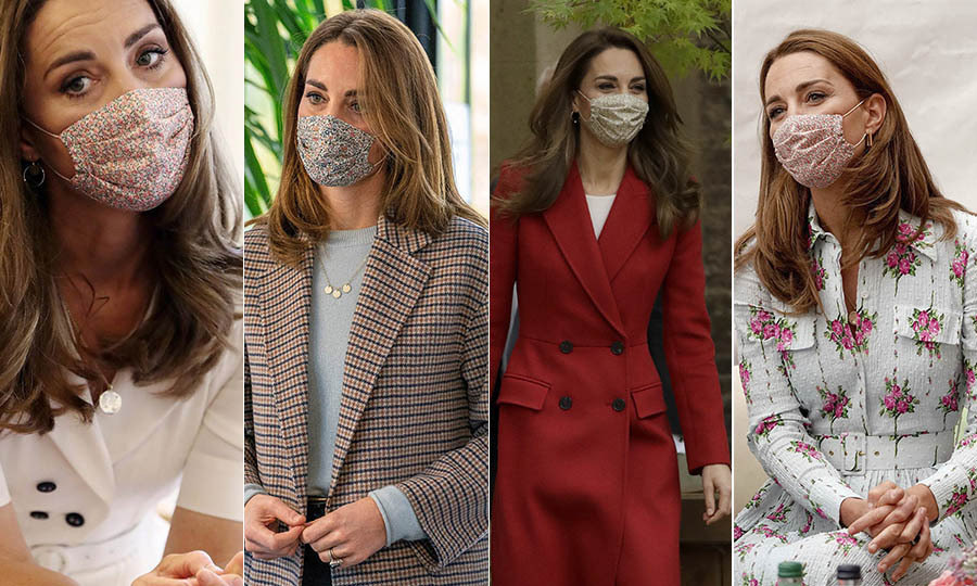 The duchess's Amaia floral face mask was one of her staples during the <a href=/tags/0/coronavirus><strong>coronavirus</strong></a> pandemic throughout 2020. 