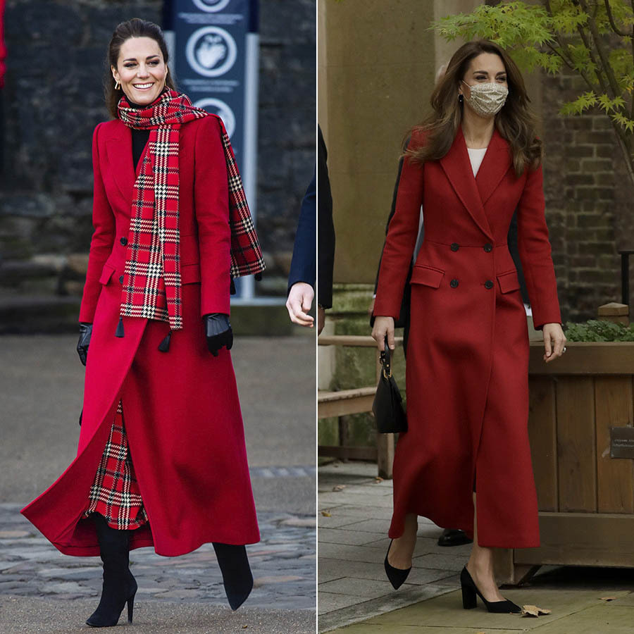 Kate got festive in a red <a href=/tags/0/alexander-mcqueen><strong>Alexander McQueen</strong></a> coat at Cardiff Castle on Dec. 8, 2020 during her royal train tour with <a href=/tags/0/prince-william><strong>Prince William</strong></a>.