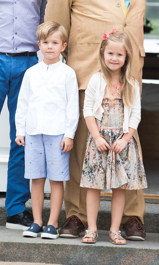 Prince Vincent and Princess Josephine of Denmark struck sweet poses for photographers at the Danish royals' annual summer photocall at Grasten Castle on July 25, 2015.
