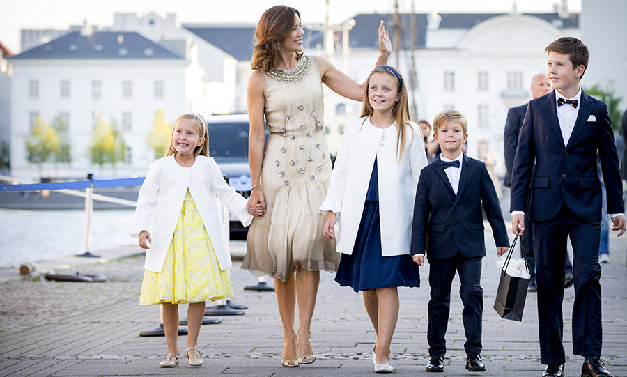 All dressed up! (L-R) Princess Josephine, Crown Princess Mary, Princess Isabella, Prince Vincent and Prince Christian looked thrilled to attend <a href=/tags/0/prince-nikolai><strong>Prince Nikolai</strong></a>'s 18th birthday part at royal ship <em>Dannebrog</em> on Aug. 28, 2017.