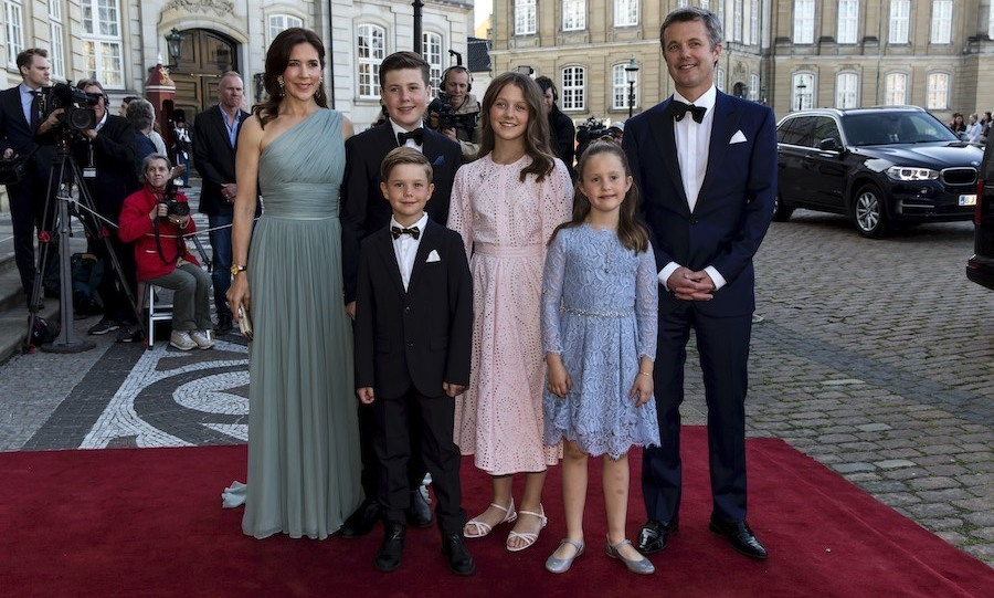 Crown Prince Frederik and Crown Princess Mary and their four kids got all dressed up for <a href=/tags/0/prince-joachim><strong>Prince Joachim</strong></a>'s 50th birthday celebrations at Amalienborg Royal Palace  in Copenhagen on June 7, 2019. 