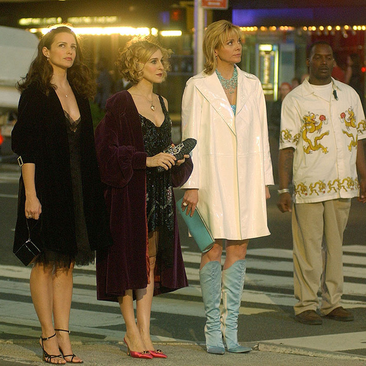 Out on the town! Kristin, Sarah and Kim were all glammed up in Times Square on set in May 2002.