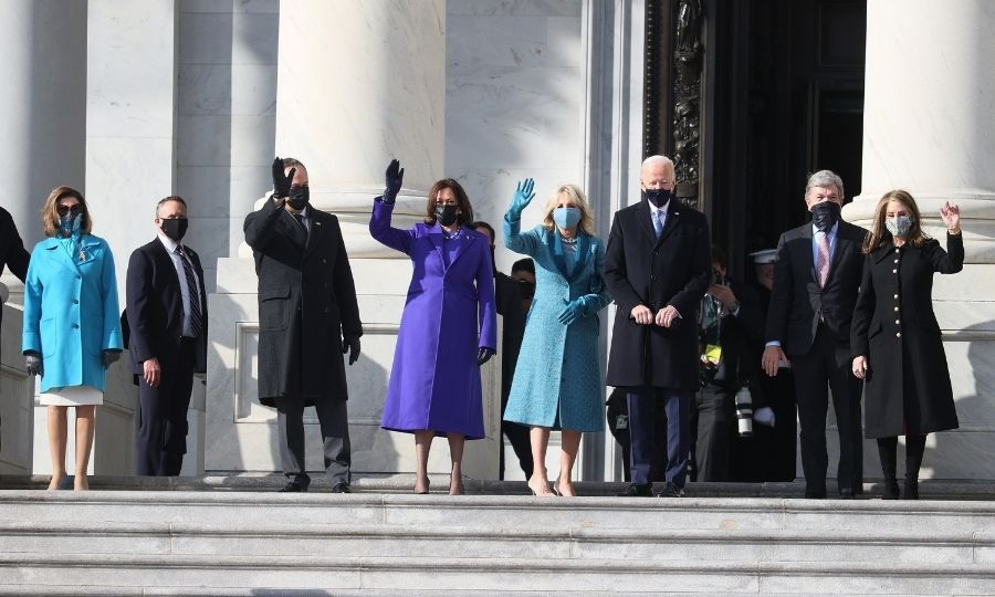 <p>Joe and Jill Biden, along with Kamala Harris and her husband Doug Emhoff, paused outside the Capitol Building to wave as they arrived at Joe and Kamala's inauguration.