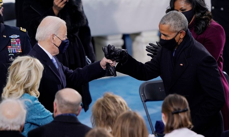 Barack also greeted Joe with a fist bump as he arrived. 