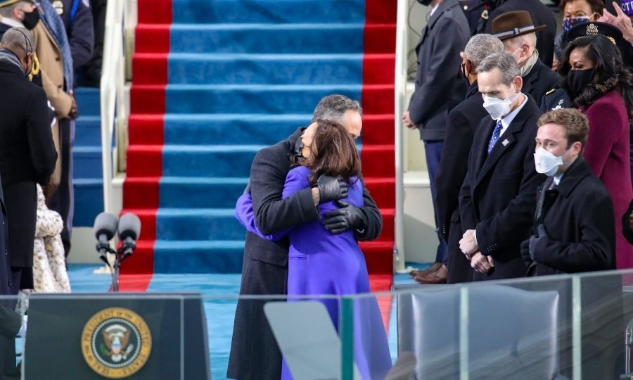 Doug gave Kamala a huge hug before she took the oath of office.