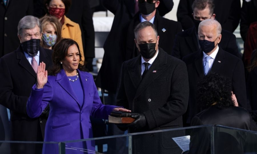 Doug held a Bible as Kamala took her oath of office.