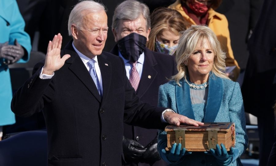 Joe was then sworn in using the Biden family Bible, held by Jill.