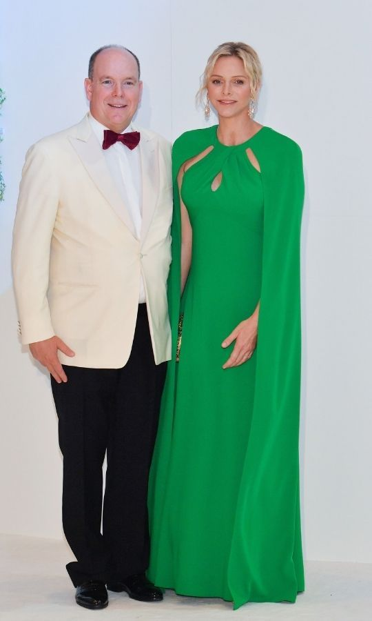 Charlene wowed in this gorgeous green cape-dress at the 71st Monaco Red Cross Ball Gala in 2019. 