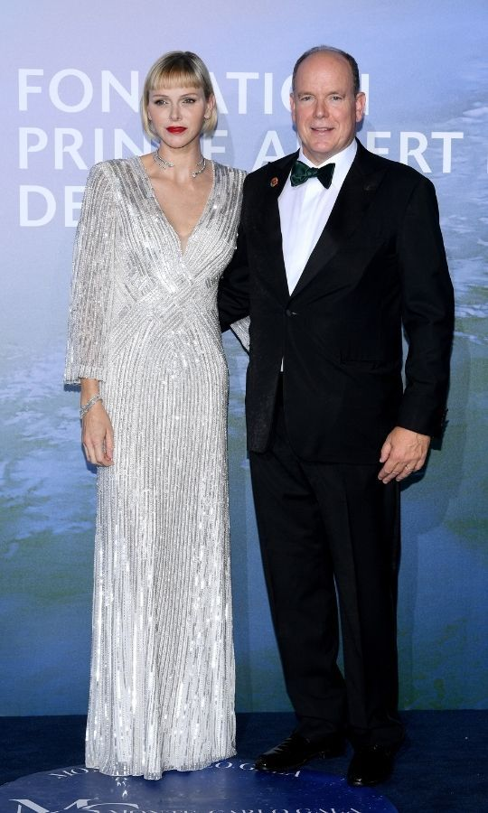 Despite the coronavirus pandemic, Charlene and Albert still held the Monte-Carlo Gala for Planetary Health in 2020, following all COVID-19 protocols for guest. She looked gorgeous in this shimmering silver gown, which she paired with a matching necklace and bracelet.