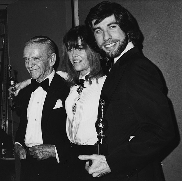 (L-R) Fred Astaire, Jane Fonda and John Travolta at the 1979 Golden Globe Awards. Photo: © Fotos International/Archive Photos/Getty Images