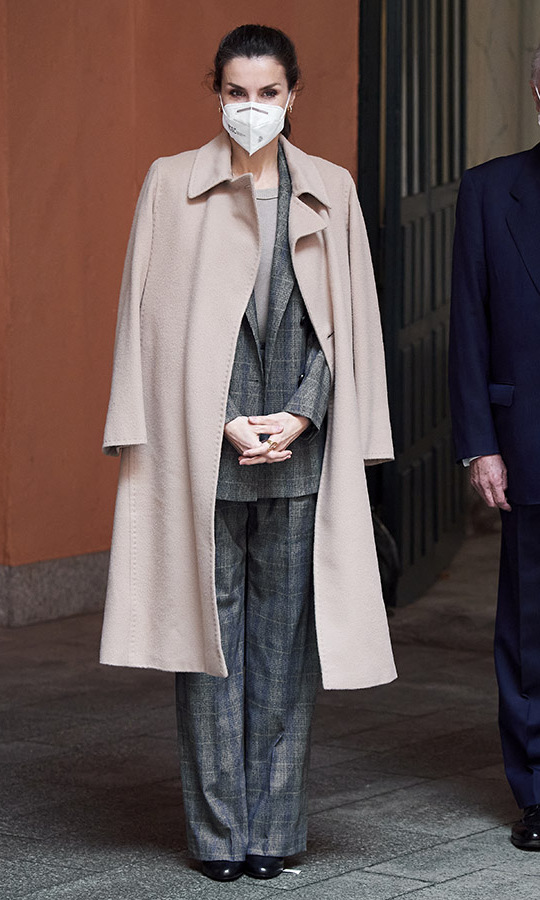 <a href=/tags/0/queen-letizia><strong>Queen Letizia</strong></a> suited up on Jan. 26 for an engagement at the Royal Academy of Engineering in Madrid.