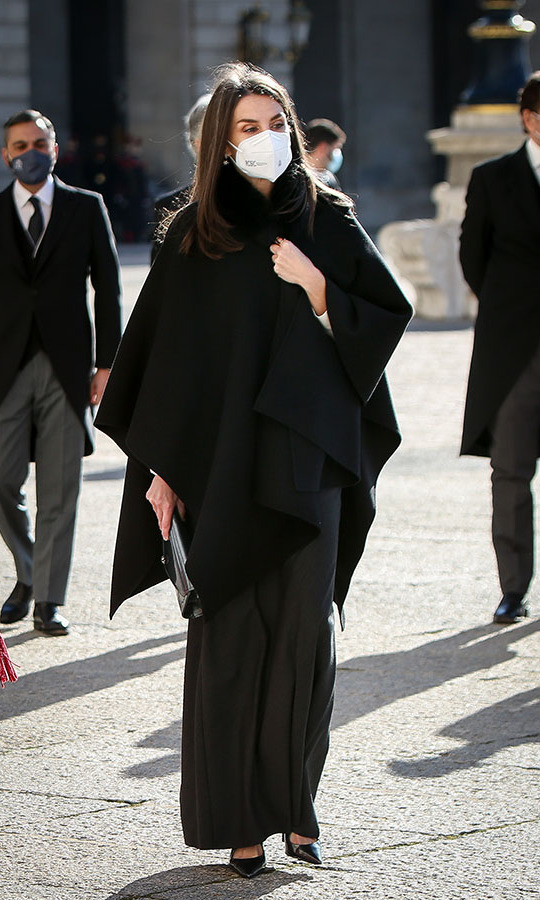 In her first appearance of 2021, <a href=/tags/0/queen-letizia><strong>Queen Letizia</strong></a> kept warm in style at the New Year Military Parade at the Royal Palace in Madrid on Jan. 6.